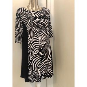 Style & Co.Black and white pattern dress large